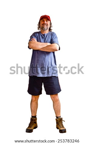 a laughing sportsman on the white background - stock photo
