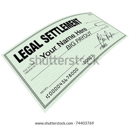 A lawsuit settlement check with the words Your Name Here, indicating that you could be eligible for a big payout on a legal suit - stock photo