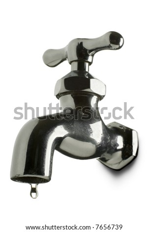a leaking tap on white - stock photo
