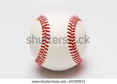 A leather baseball with the seams vertical.