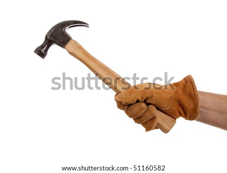 A leather gloved hand holding a hammer on a white background with copy space