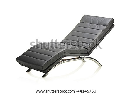 A leather modern chair isolated on white background - stock photo