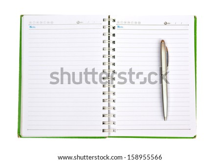 a leather notebook with spiral, pen and blank lined paper