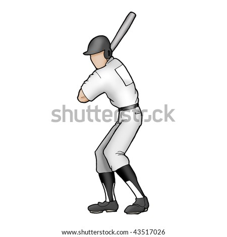 A left handed young professional male baseball player batting ready to hit the ball