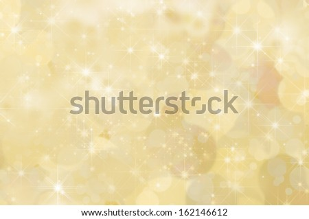 A lemon yellow abstract star background with misty clouds and bokeh. - stock photo