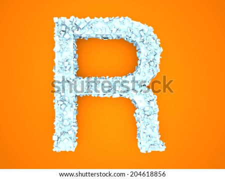 A letter formed out of ice Crystals. 3d illustration.