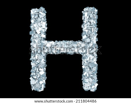 A letter H formed out of ice Crystals. - stock photo