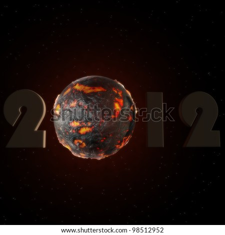 a lettering of 2012 with a lava ball - stock photo