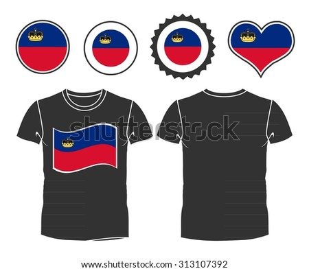 A Liechtenstein businessman rips open his shirt and shows how patriotic he is by revealing his countries flag beneath printed on a t-shirt. Raster version - stock photo