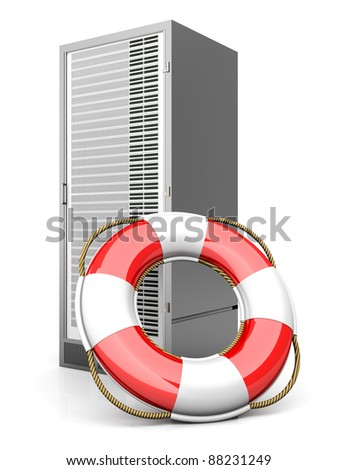 A life belt with a Server tower. 3d rendered Illustration. Isolated on white. - stock photo