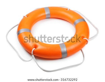 A life buoy for safety at sea, isolated on white - stock photo