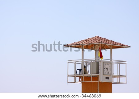 A life guard tower on the beach of Larnaca, Cyprus