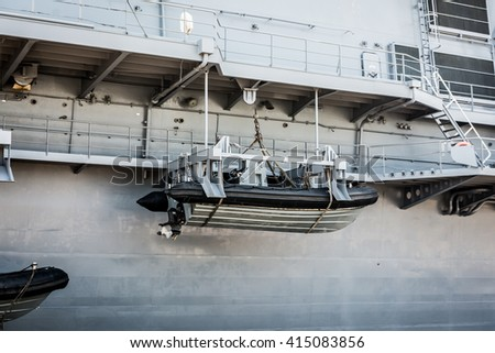 A lifeboat on the rear of a ship - stock photo