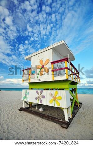 A Lifeguard Hut at Miami South Beach, FL - stock photo