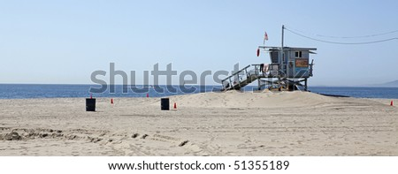 A lifeguard station on Santa Monica Beach Los Angeles California. - stock photo