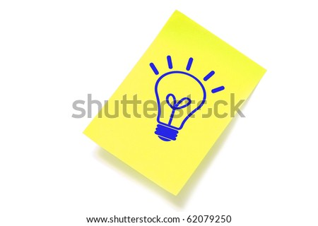 a light bulb drawn in a sticky note symbolizing concept idea - stock photo