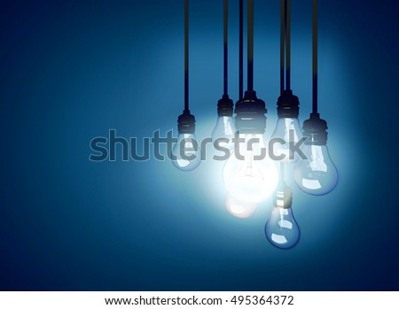 A light bulb glowing among the others. 3D illustration