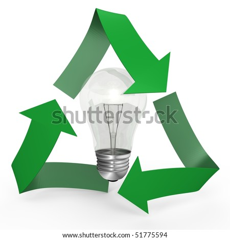 A light bulb inside the recycle symbol - 3d image - stock photo