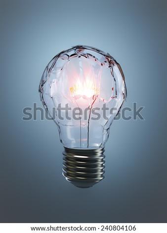 A light bulb with shattered glass illuminated