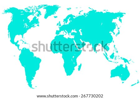 a light green map of the world, isolated, clipping path - stock photo