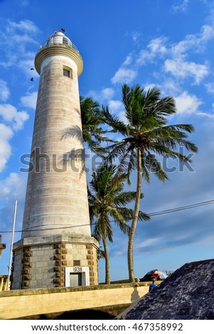 A light house at Galle beach in Sri Lanka