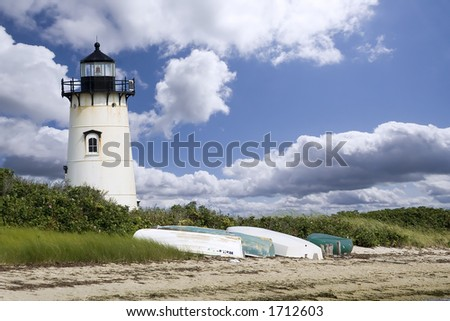 A light house in Edgartown, Martha's Vineyard - stock photo