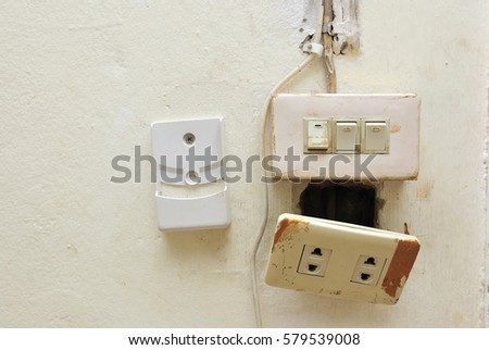 Light Switch Electrical Socket Switch Damaged Stock Photo (Safe to ...