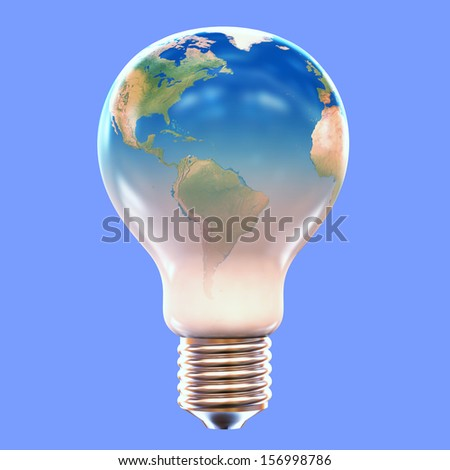 A lightbulb with the image of the Earth on it's surface - eco friendly, go green concept image