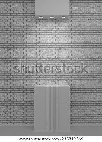 A lighted niche on the white bricks wall for the exhibition and presentation. 3D render - stock photo