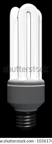A lighted tubular-type compact fluorescent lamp on black background. Computer generated image with clipping path.