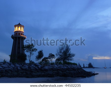 A lighthouse at dusk. Picture taken in Langkawi Island, Malaysia