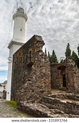 A lighthouse in Colonia del Sacramento, Uruguay - stock photo