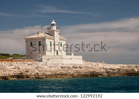 A lighthouse on the island Brijuni- Croatia - stock photo