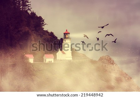 a lighthouse with a flock of birds during dusk on a warm summer evening toned with a retro vintage instagram filter effect  - stock photo
