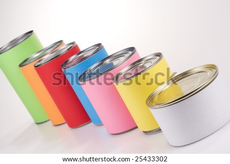 A line of colored cans with anonym labels