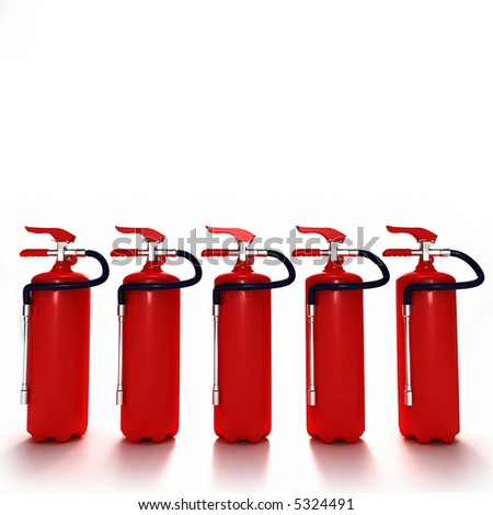 A line of five red fire extinguishers against white background - stock photo