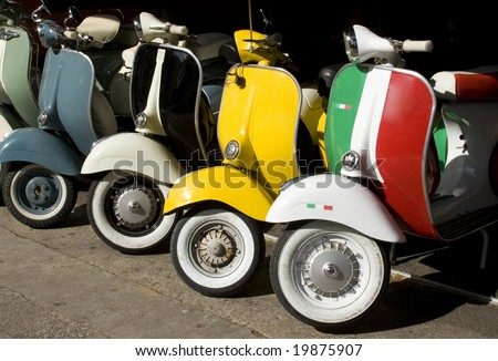 a line of italian scooters - stock photo