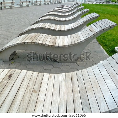 a line of lounge chairs - stock photo