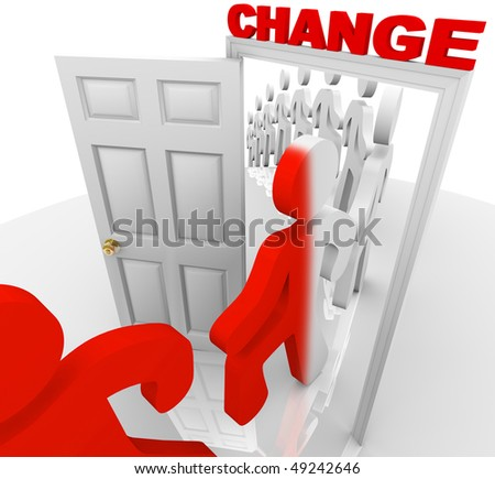 A line of people step through the change doorway and become transformed - stock photo