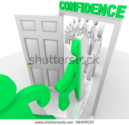 A line of people step through the confidence doorway and become transformed - stock photo