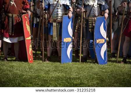 a line of roman soldiers - stock photo