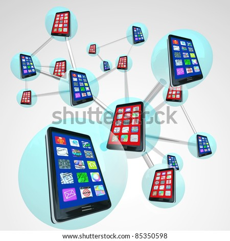A linked network of smart phones in spheres sharing messages and apps on their touch screens with modern communication technology - stock photo