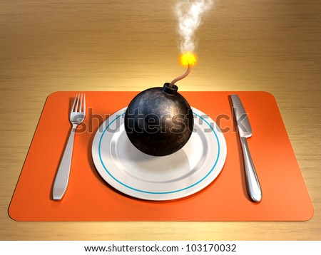 A lit bomb on a plate with fork and knife at its sides. Digital illustration. - stock photo