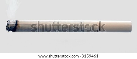 A lit cigarette, isolated on grey