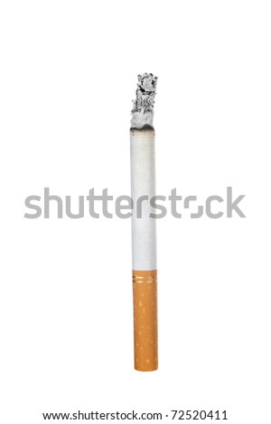 A lit cigarette on a white background for use as a smoking inference. - stock photo