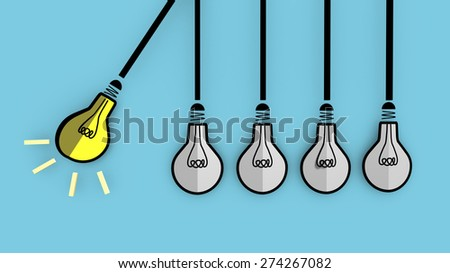 A lit light bulb will boost other extinguished bulbs. Newton's cradle concept. - stock photo