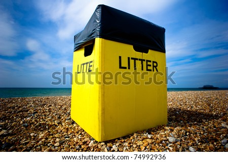 A litter box on the beach in Brighton, UK - stock photo