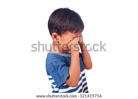 a little asian  boy sad and cry  - stock photo
