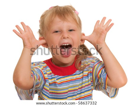 A little blond girl is pretending she is a crocodile; isolated on the white background - stock photo