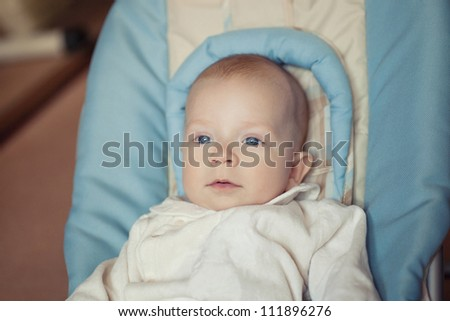 a little boy sitting in a child seat - stock photo